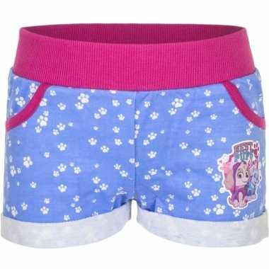 Goedkope blauw paw patrol broekje kort voor meisjes