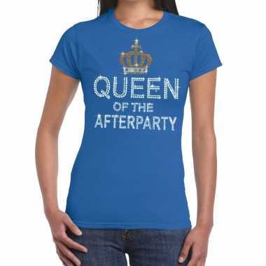 Goedkope blauw queen of the afterparty glitter steentjes t shirt dame