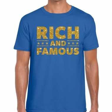 Goedkope blauw rich and famous goud fun t shirt voor heren