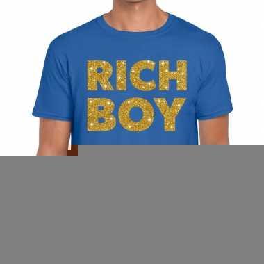 Goedkope blauw rich boy goud fun t shirt voor heren