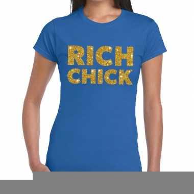 Goedkope blauw rich chick goud fun t shirt voor dames