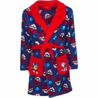 Goedkope blauw/rode paw patrol ochtendjas met capuchon voor jongens