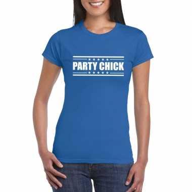 Goedkope blauw t shirt dames met tekst party chick