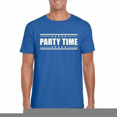 Goedkope blauw t shirt heren met tekst party time