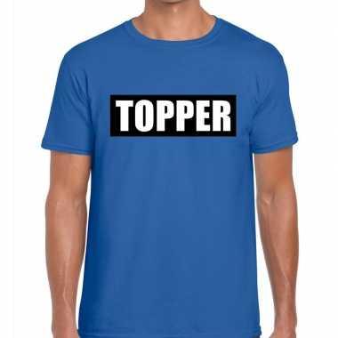 Goedkope blauw t shirt heren met tekst topper in zwarte balk