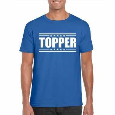 Goedkope blauw t shirt heren met tekst topper