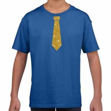 Goedkope blauw t shirt met gouden stropdas voor kinderen