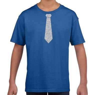 Goedkope blauw t shirt met zilveren stropdas voor kinderen
