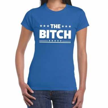 Goedkope blauw t shirt the bitch voor dames