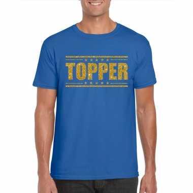 Goedkope blauw topper shirt in gouden glitter letters heren