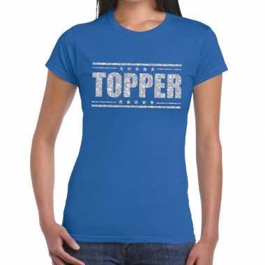 Goedkope blauw topper shirt in zilveren glitter letters dames