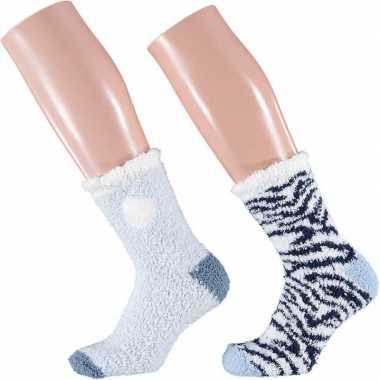 Goedkope blauw/witte zebra huissokken/slofsokken voor dames