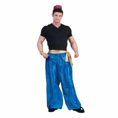 Goedkope blauwe 1001 nacht broek voor heren