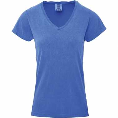 Goedkope blauwe dames t shirts met v hals