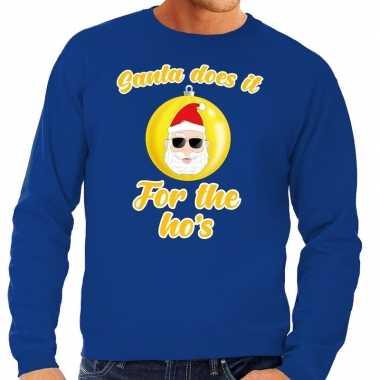 Goedkope blauwe foute kersttrui kerstman does it for the ho's voor he