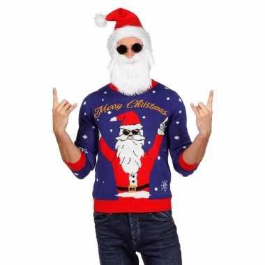 Goedkope blauwe foute kersttrui met rockende kerstman