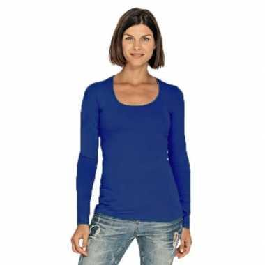 Goedkope blauwe longsleeve shirt met ronde hals voor dames