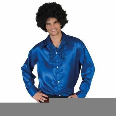 Goedkope blauwe rouche overhemd voor heren