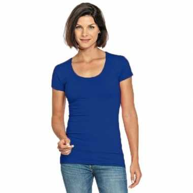 Goedkope blauwe shirt met ronde hals voor dames
