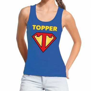 Goedkope blauwe tanktop / mouwloos shirt super topper dames