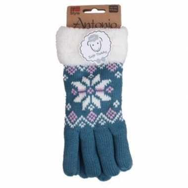 Goedkope blauwe winterhandschoenen nordic voor dames