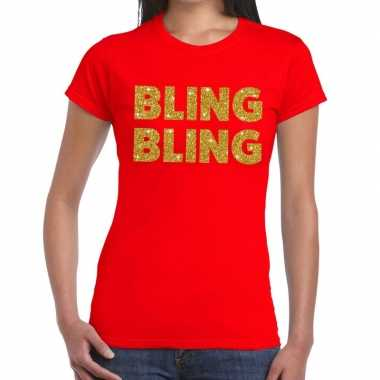 Goedkope bling bling fun t shirt rood voor dames