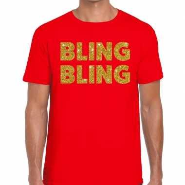 Goedkope bling bling fun t shirt rood voor heren