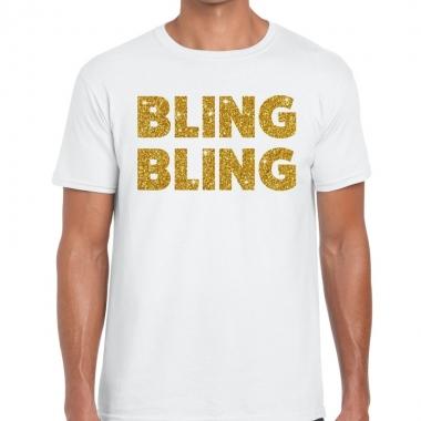 Goedkope bling bling fun t shirt wit voor heren