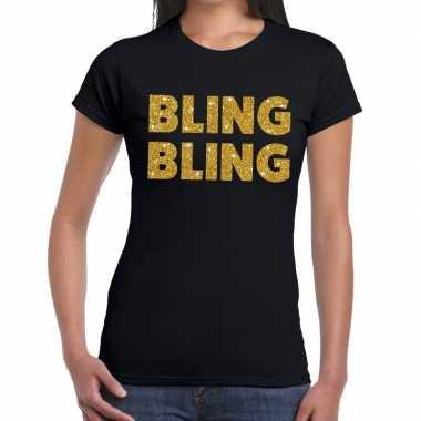 Goedkope bling bling fun t shirt zwart voor dames