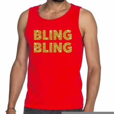 Goedkope bling bling fun tanktop / mouwloos shirt rood voor heren
