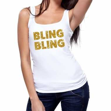 Goedkope bling bling fun tanktop / mouwloos shirt wit voor dames