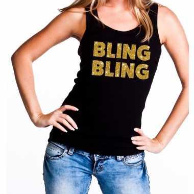 Goedkope bling bling fun tanktop / mouwloos shirt zwart voor dames