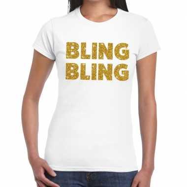 Goedkope bling bling goud fun t shirt wit voor dames