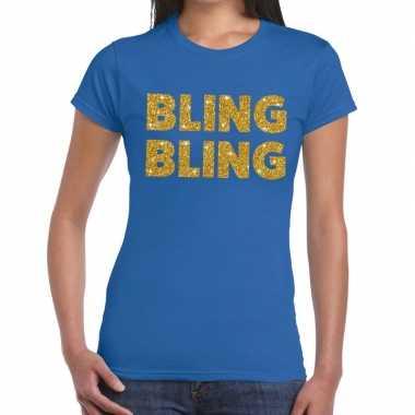 Goedkope bling bling tekst fun t shirt blauw voor dames