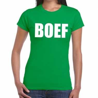 Goedkope boef fun t shirt groen voor dames