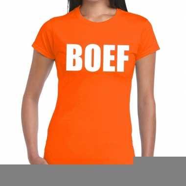 Goedkope boef fun t shirt oranje voor dames