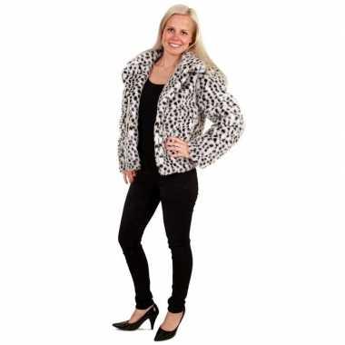 Goedkope bontjas dalmatierhond print voor dames