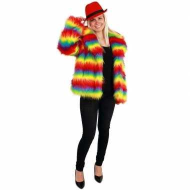 Goedkope bontjas gekleurde strepen voor dames