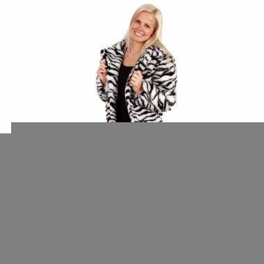 Goedkope bontjas zebraprint voor dames