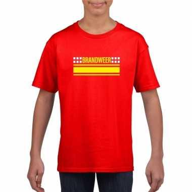 Goedkope brandweerman shirt rood voor kinderen
