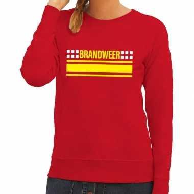 Goedkope brandweervrouw sweater / trui rood voor dames