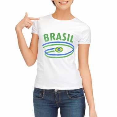 Goedkope brazilie t-shirt voor dames met vlaggen print