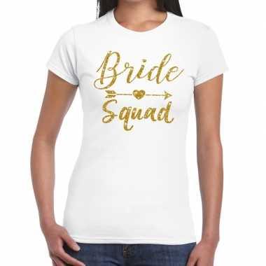 Goedkope bride squad gouden letters fun t shirt wit voor dames