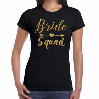 Goedkope bride squad gouden letters fun t shirt zwart voor dames