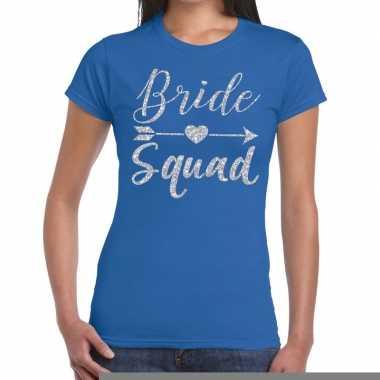 Goedkope bride squad zilveren letters fun t shirt blauw voor dames