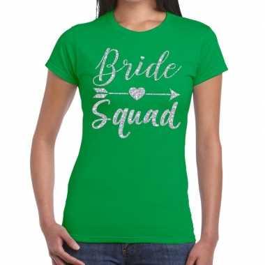 Goedkope bride squad zilveren letters fun t shirt groen voor dames
