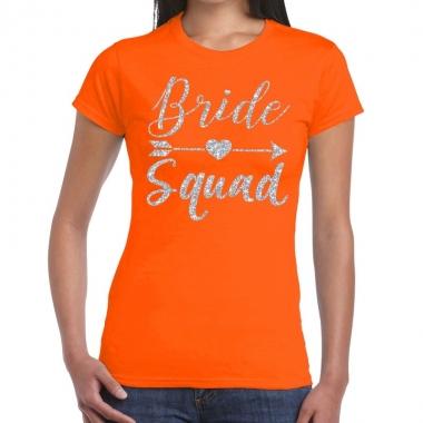 Goedkope bride squad zilveren letters fun t shirt oranje voor dames