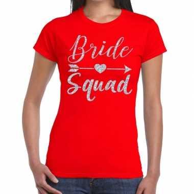 Goedkope bride squad zilveren letters fun t shirt rood voor dames