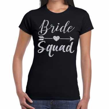 Goedkope bride squad zilveren letters fun t shirt zwart voor dames
