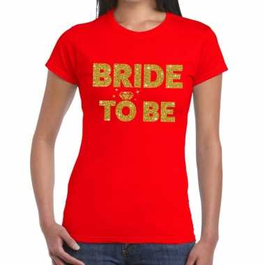 Goedkope bride to be goud fun t shirt rood voor dames